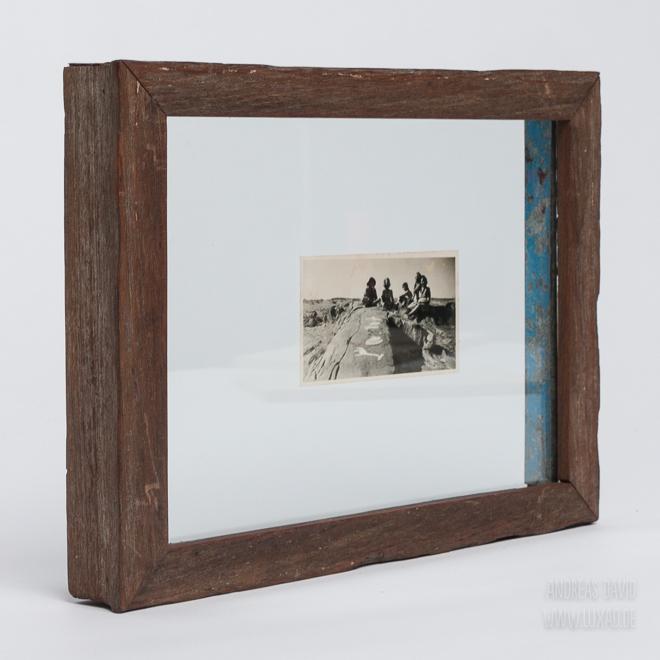Doppelglas-Bilderrahmen aus recyceltem Holz und Metal